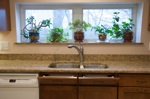 window sill in kitchen with plants