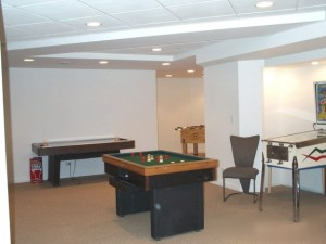 White basement with recreational center
