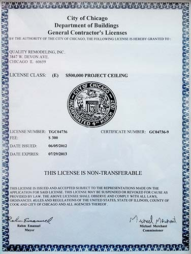 department of buildings license in Illinois