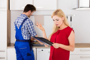 lady frustrated over home remodeling bill